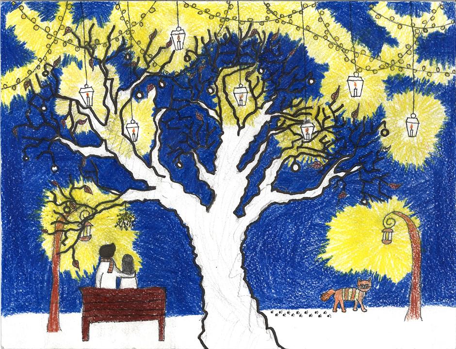 Apsaugota: Kalėdinio atviruko piešinio ir sveikinimo konkurso nugalėtojų piešiniai ir sveikinimai