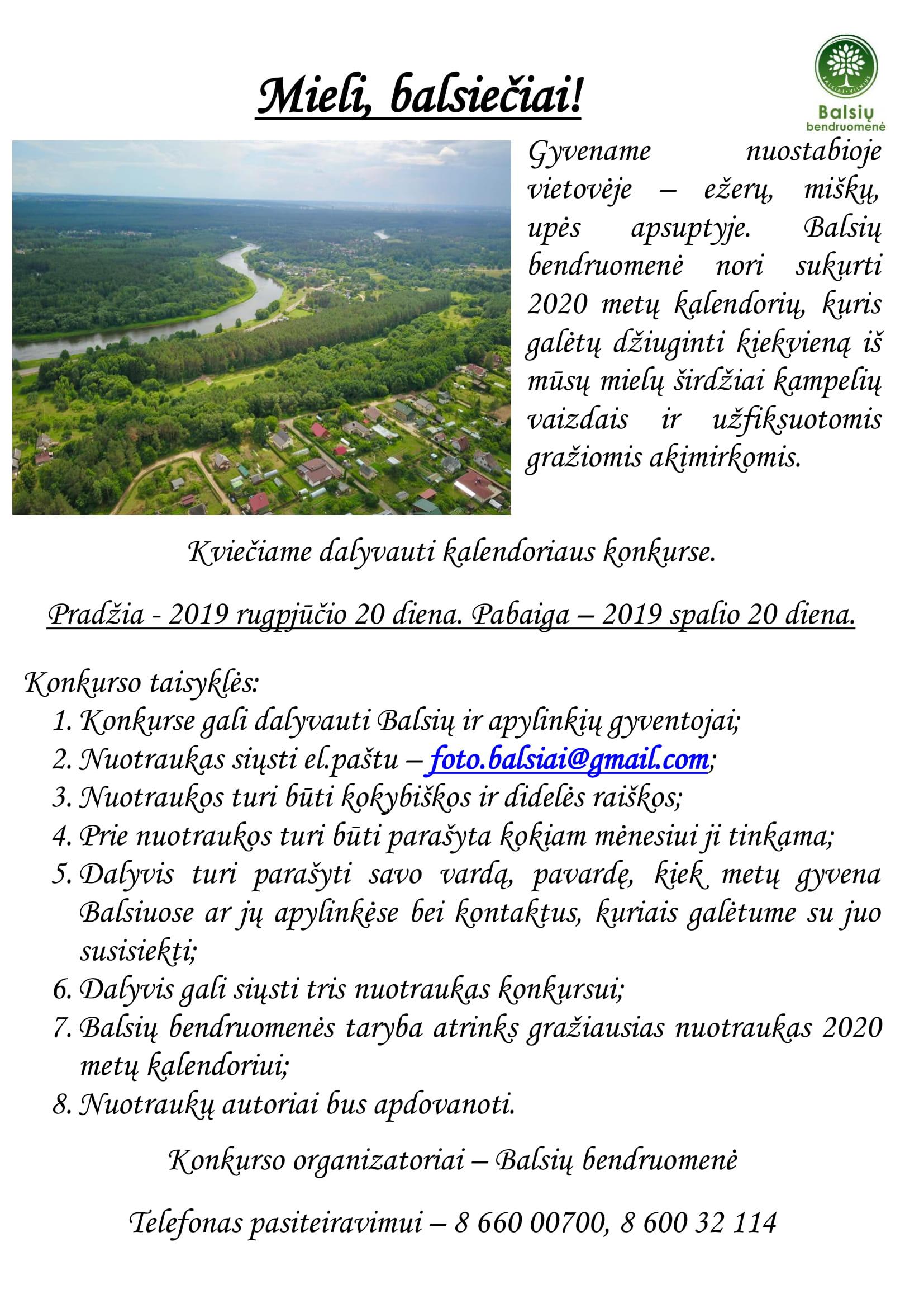 Kviečiame dalyvauti Balsių kalendoriaus konkurse