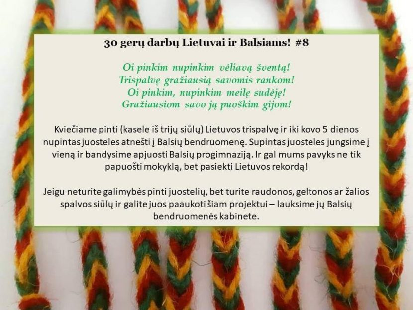 Kviečiame pinti Lietuvos trispalvę juosteles