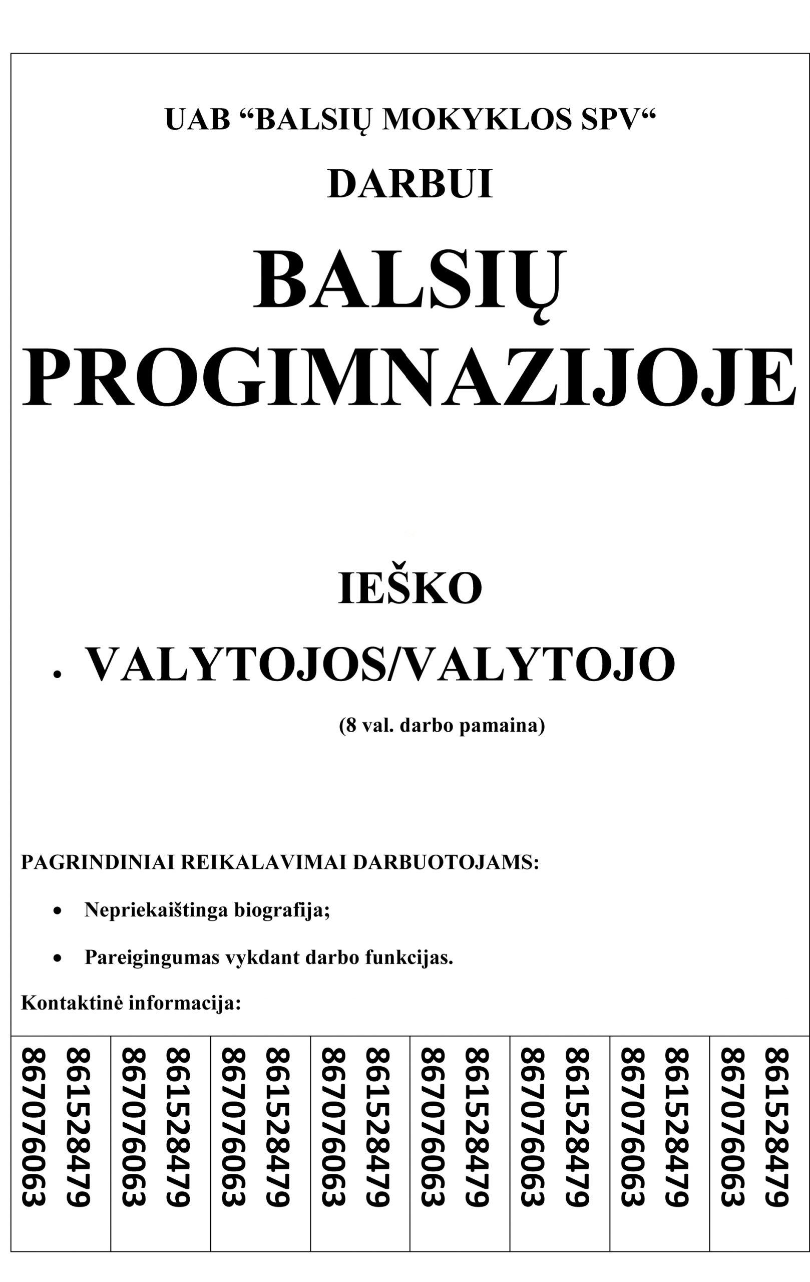 """Darbui Balsių Progimnazijoje, UAB """"Balsių Mokyklos SPV"""" ieško valytojo (-s)"""