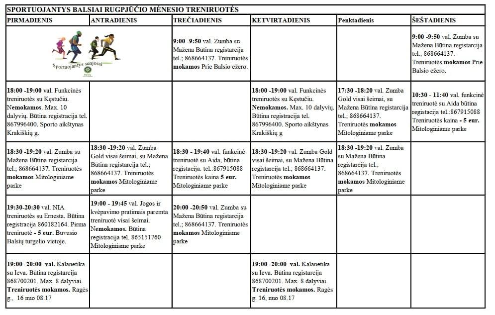 Rugpjūčio mėnesio treniruočių tvarkaraštis