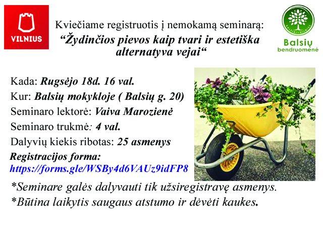 """Kviečiame registruotis nemokamą seminarą """"Žydinčios pievos, kaip tvari ir estetiška alternatyva vejai"""""""