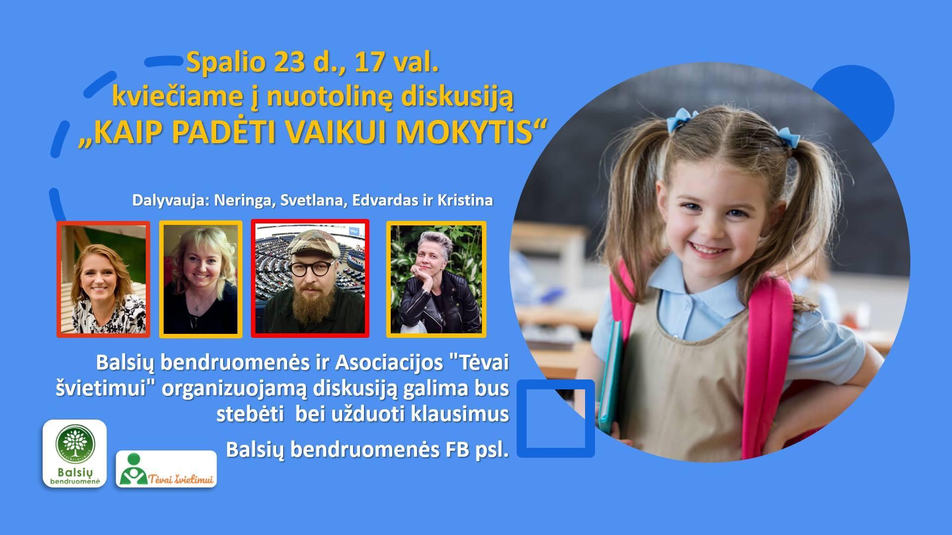 Diskusija, kaip padėti vaikui mokytis
