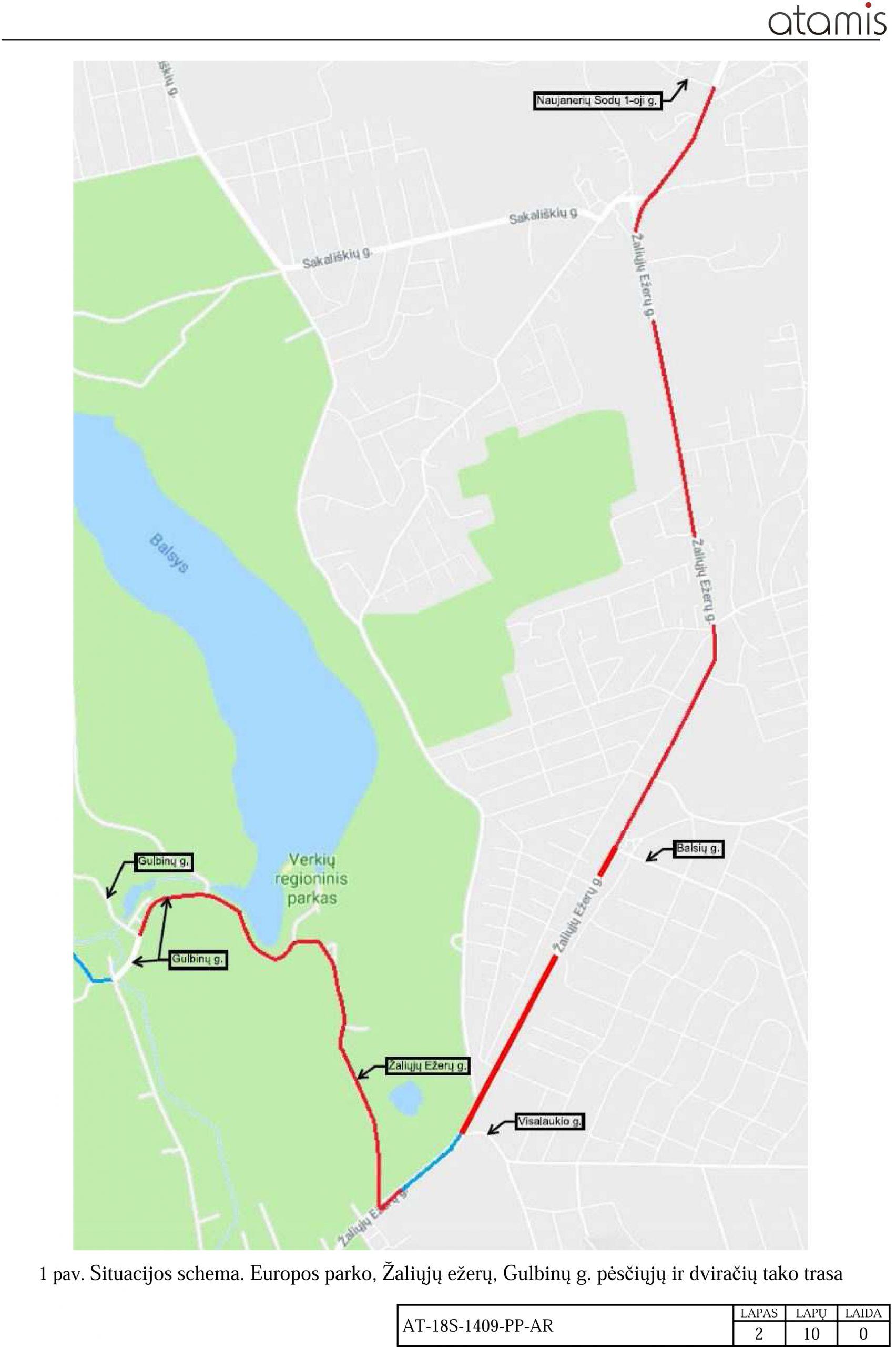 Visuomenės informavimas apie numatomą dviračių ir pėsčiųjų tako Gulbinų, Žaliųjų ežerų ir Europos parko gatvių atkarpose, Vilniuje, projektavimą